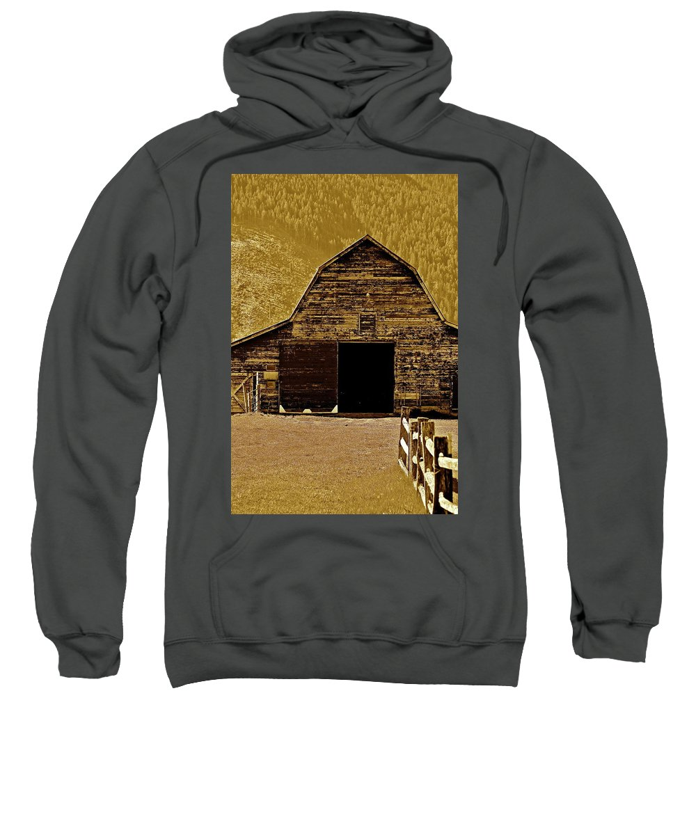 Barn Sweatshirt featuring the photograph Barn In Sepia by Diana Hatcher