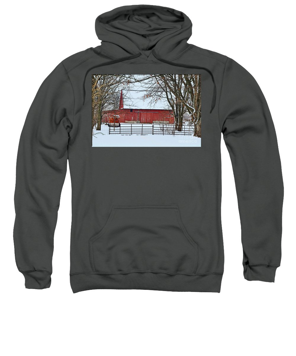Snow Sweatshirt featuring the photograph Barn In The Winter by Brittany Horton