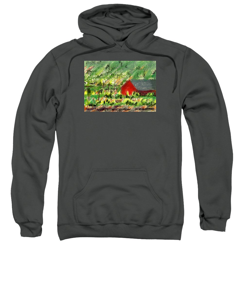 Donna Crosby Sweatshirt featuring the painting Barn In Vineyard by Donna Crosby