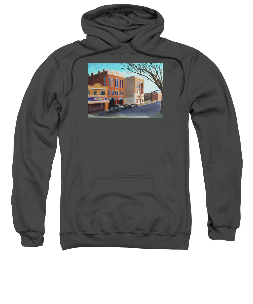 Short North Sweatshirt featuring the painting Barrio by Lauren Luna