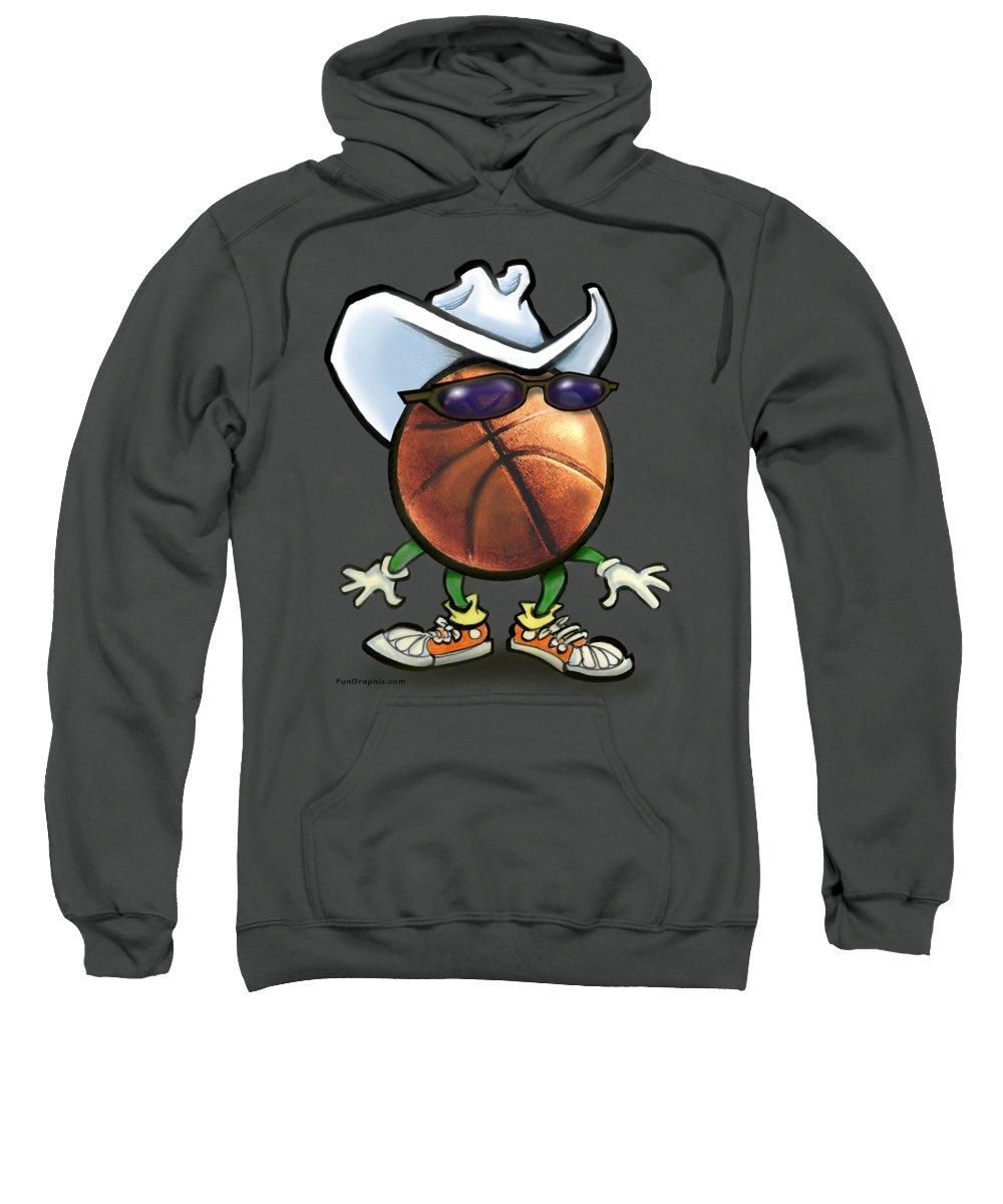 Basketball Sweatshirt featuring the digital art Basketball Cowboy by Kevin Middleton