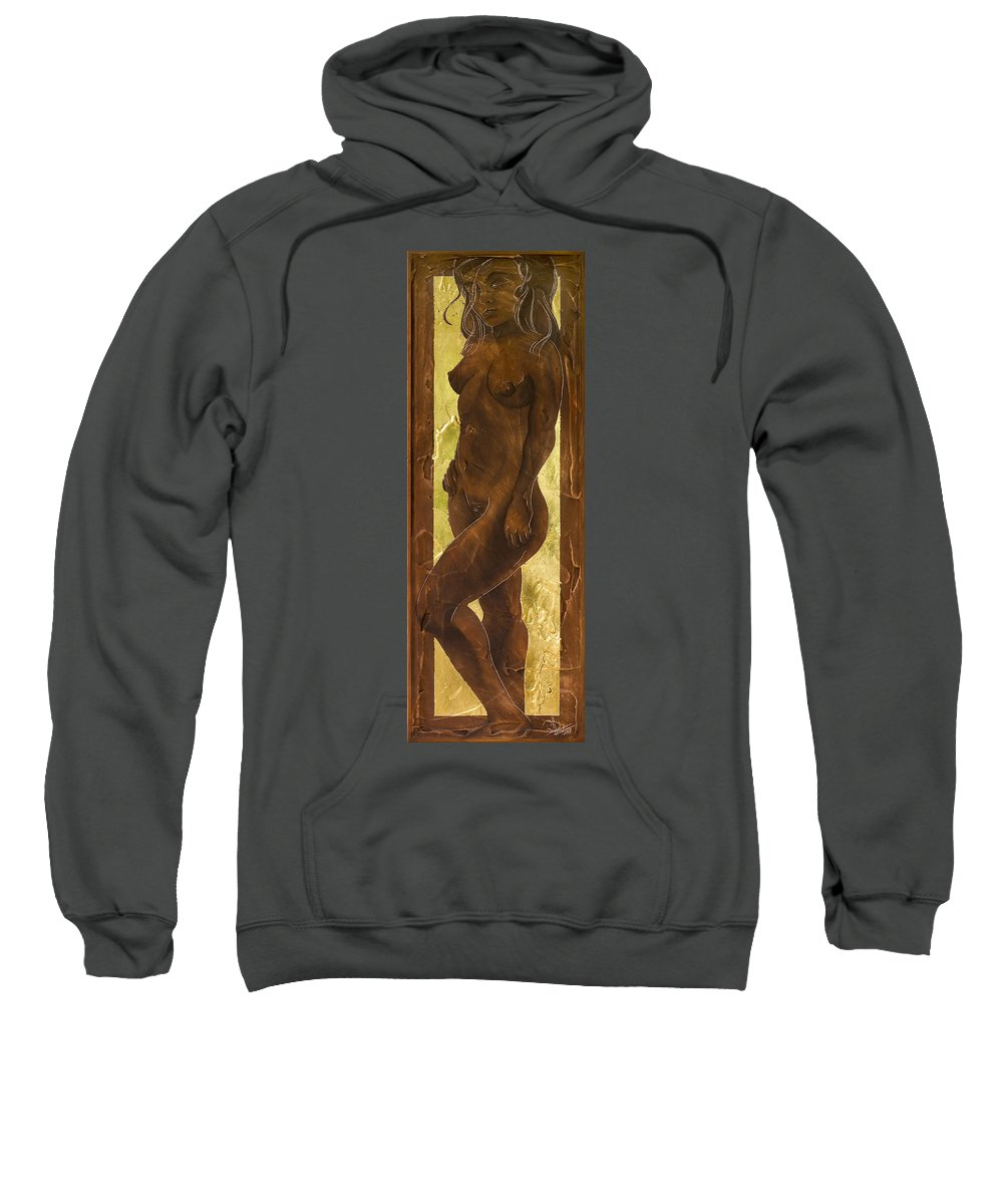 Nude Sweatshirt featuring the painting Basking In The Glow by Richard Hoedl