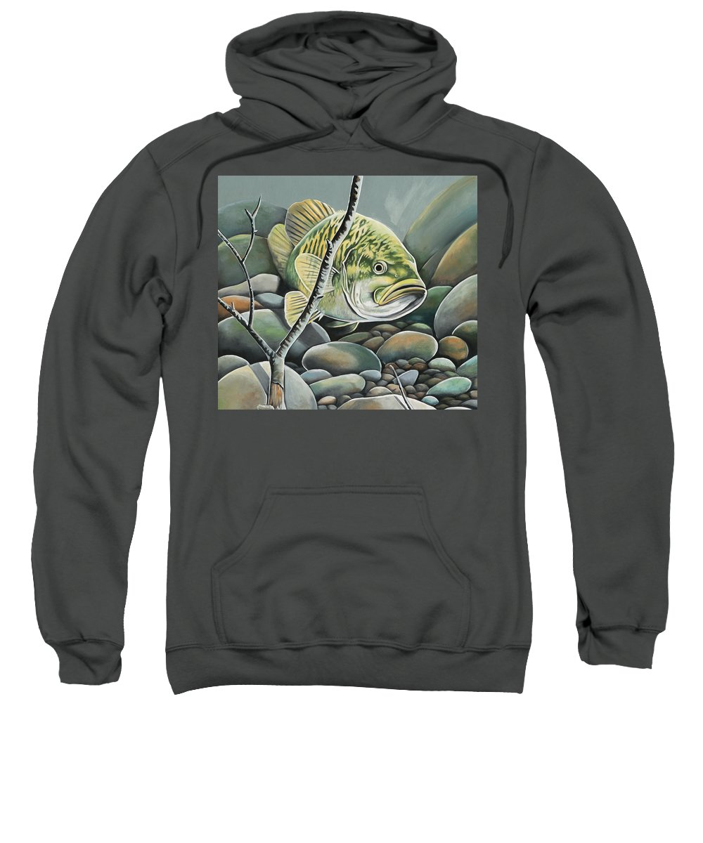 Fishing Sweatshirt featuring the painting Bass In Rocks by Jerri Simmons