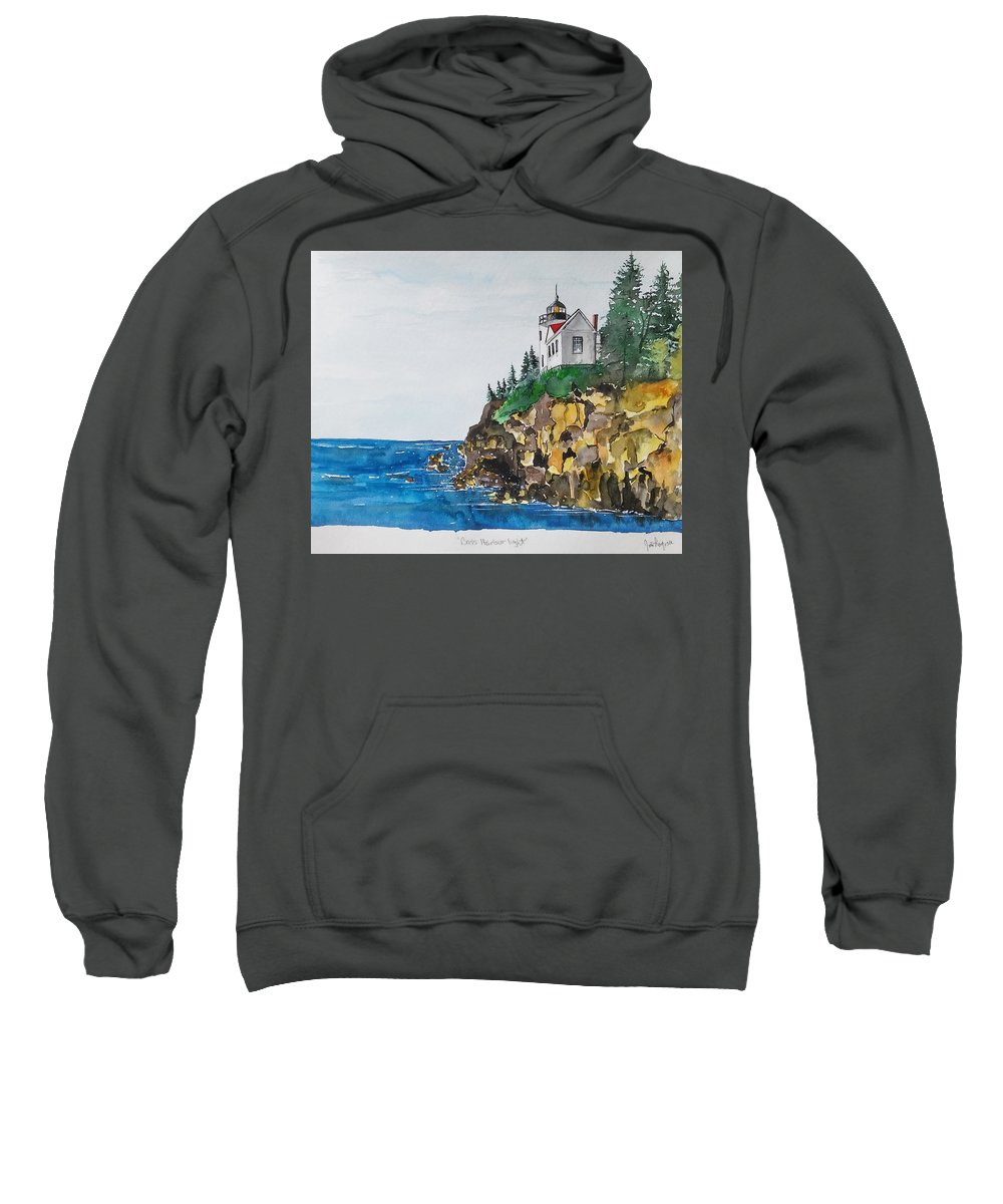 Lighthouse Sweatshirt featuring the painting Bass Light by James Lagasse