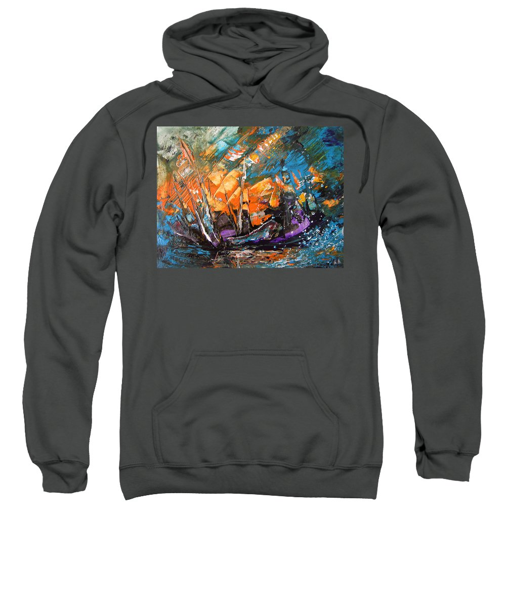 Acrylics Sweatshirt featuring the painting Bataille Navale by Miki De Goodaboom