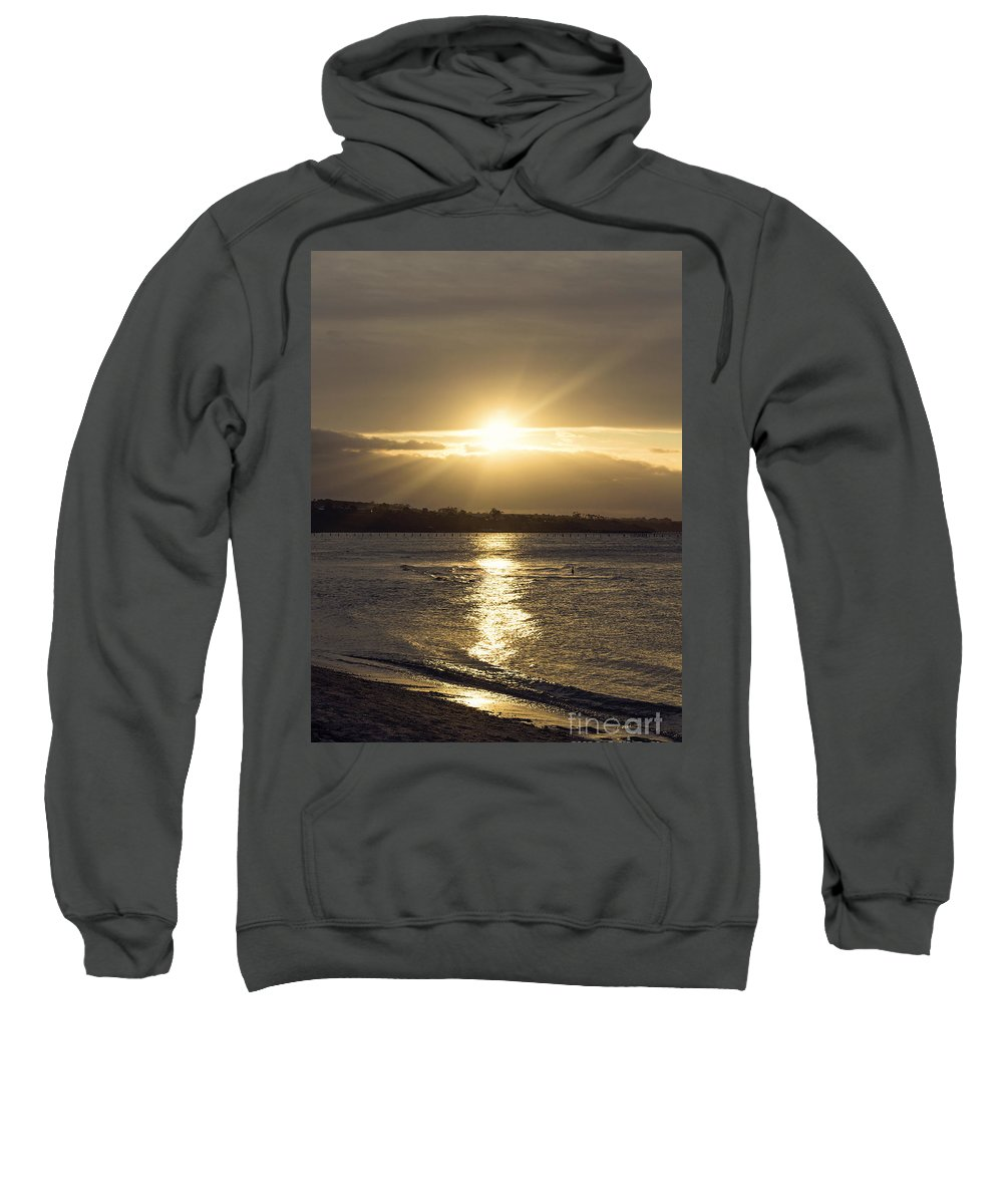 Beach Sweatshirt featuring the photograph Bathed In Golden Light by Linda Lees