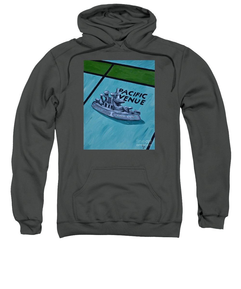 Toys And Games Monopoly Kids Games Sweatshirt featuring the painting Battle Ship by Herschel Fall