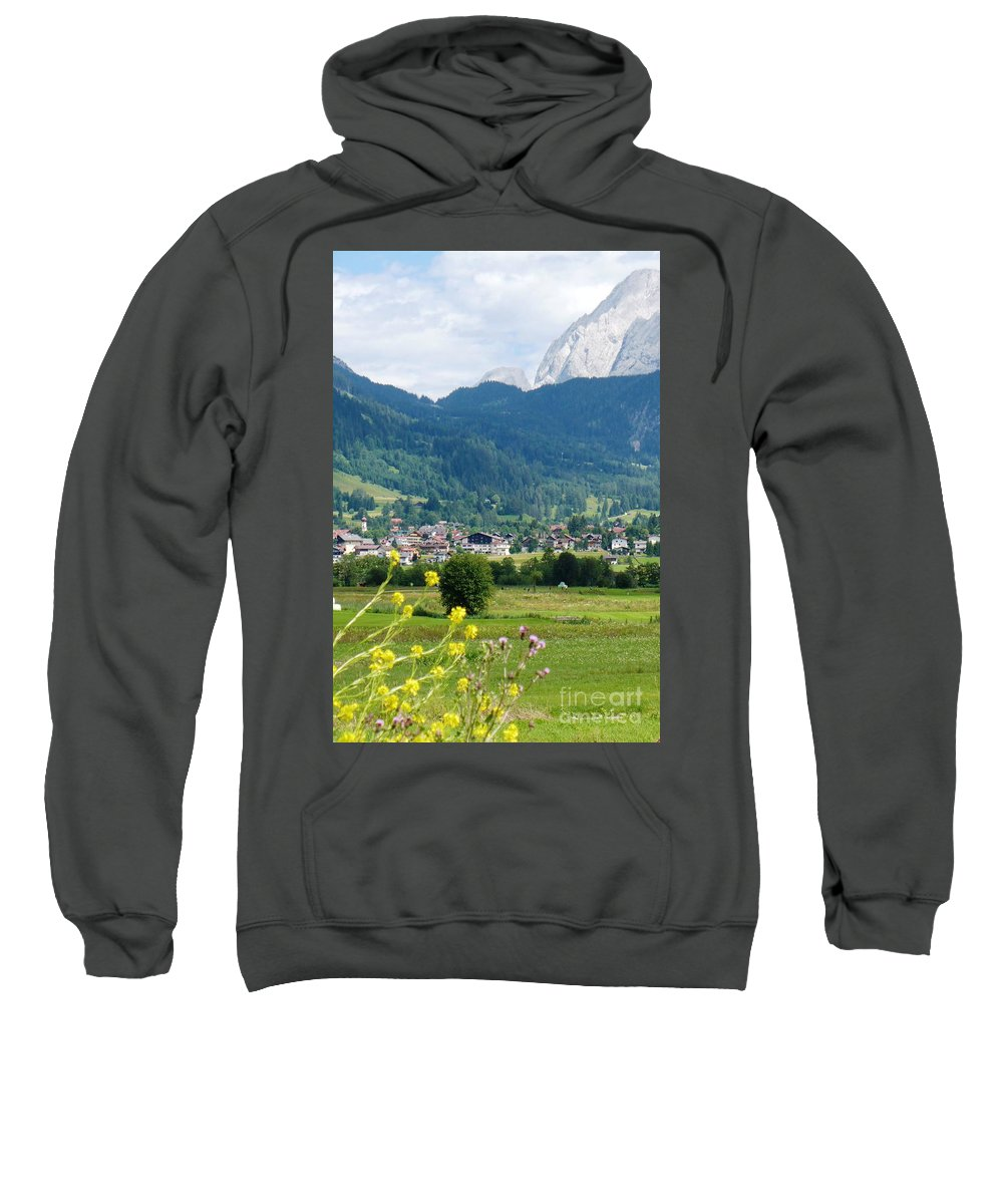 Bavaria Sweatshirt featuring the photograph Bavarian Alps With Village And Flowers by Carol Groenen