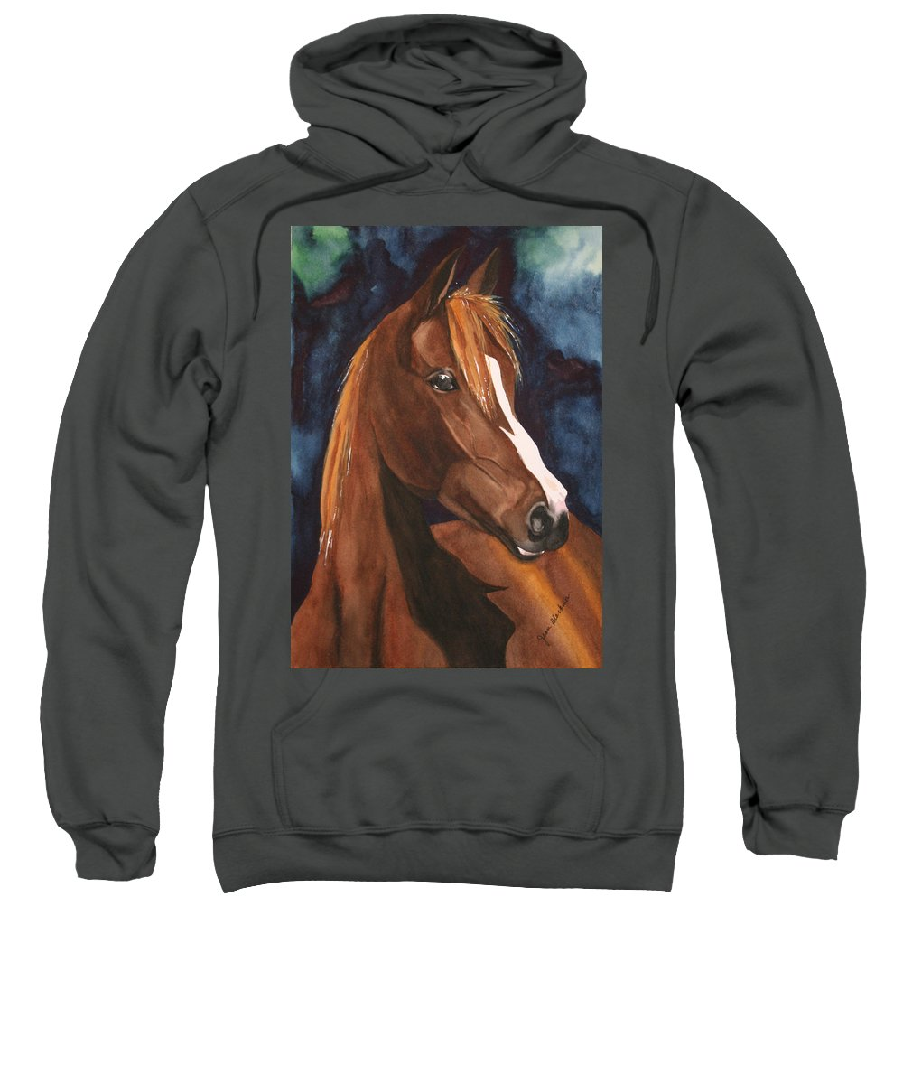 Horse Sweatshirt featuring the painting Bay On Blue 2 by Jean Blackmer