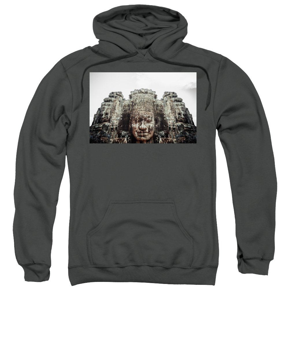 Monk Sweatshirt featuring the photograph Bayon Temple by Serge Karloff