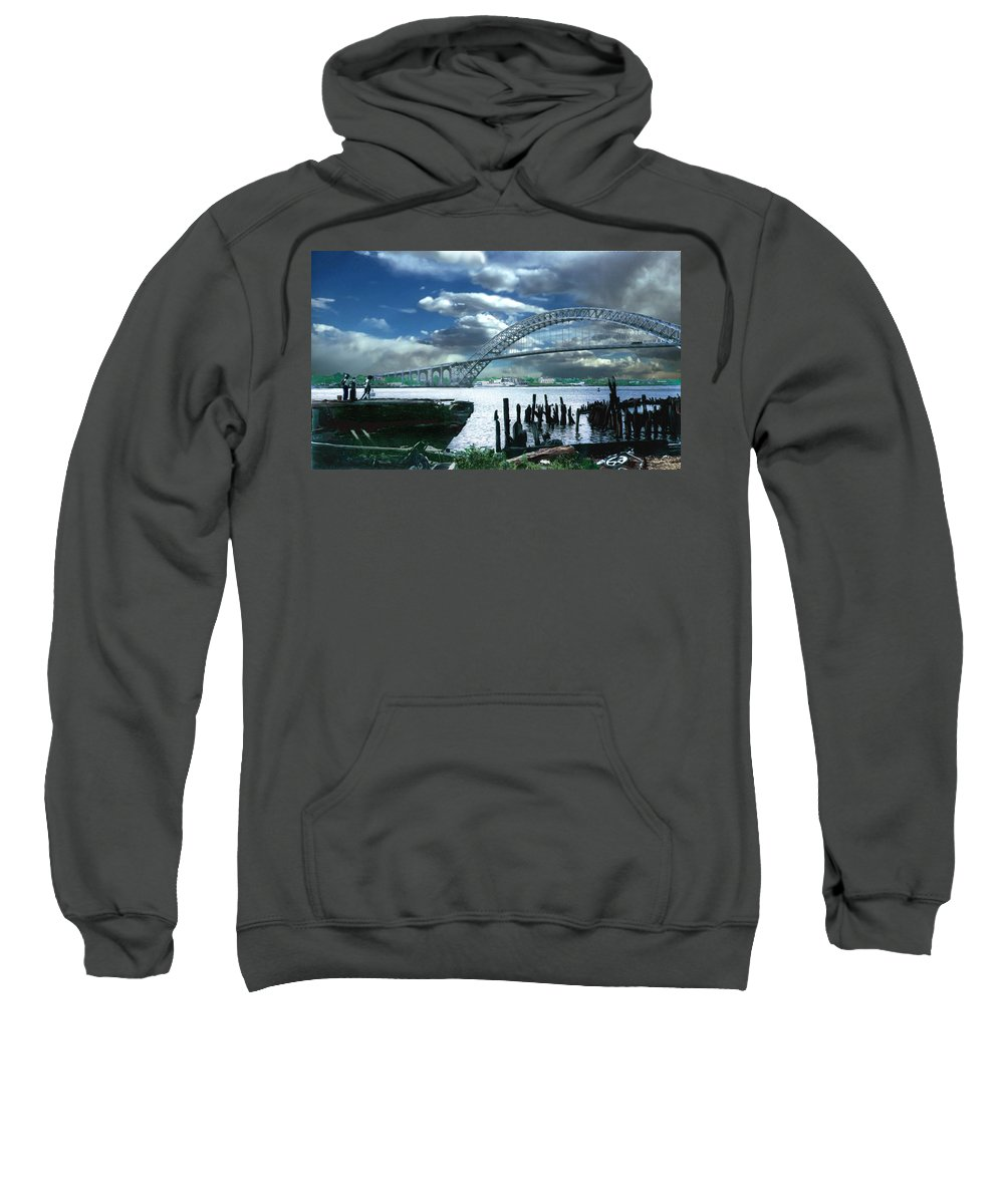 Seascape Sweatshirt featuring the photograph Bayonne Bridge by Steve Karol