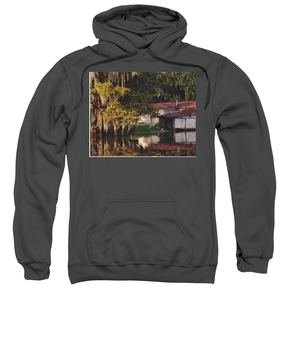 Bayou Sweatshirt featuring the photograph Bayou Shack by Michelle Powell