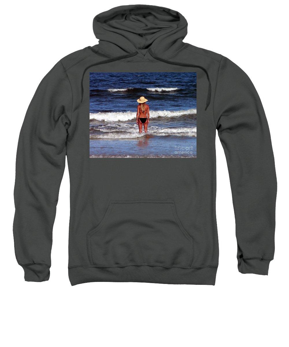 Beach Sweatshirt featuring the photograph Beach Blonde - Digital Art by Al Powell Photography USA