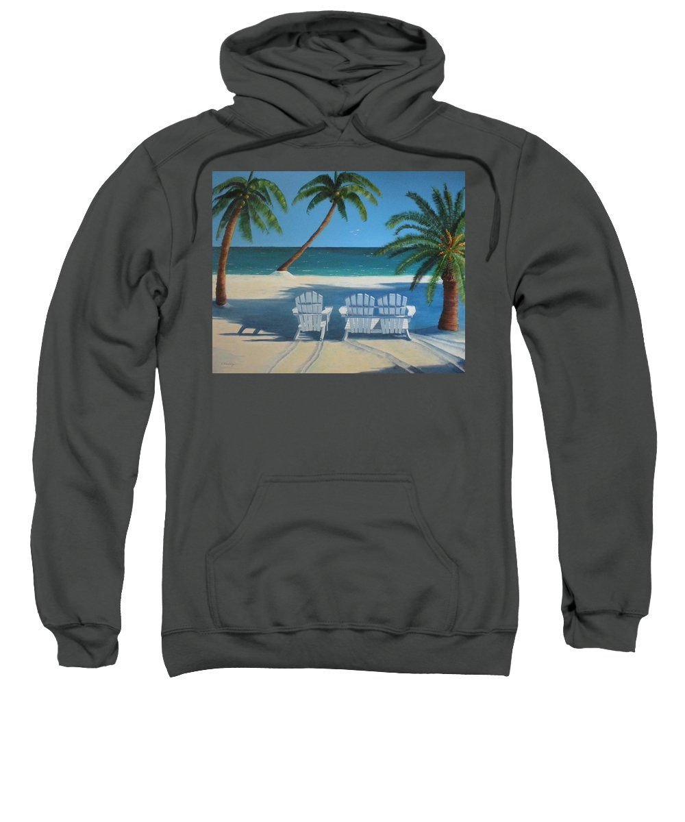 Beach Sweatshirt featuring the painting Beach Chairs No. 1 by CB Woodling