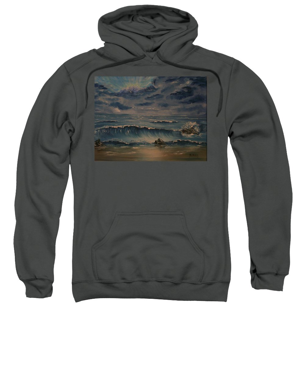 Water Sweatshirt featuring the painting Beach Scene by Stephen King