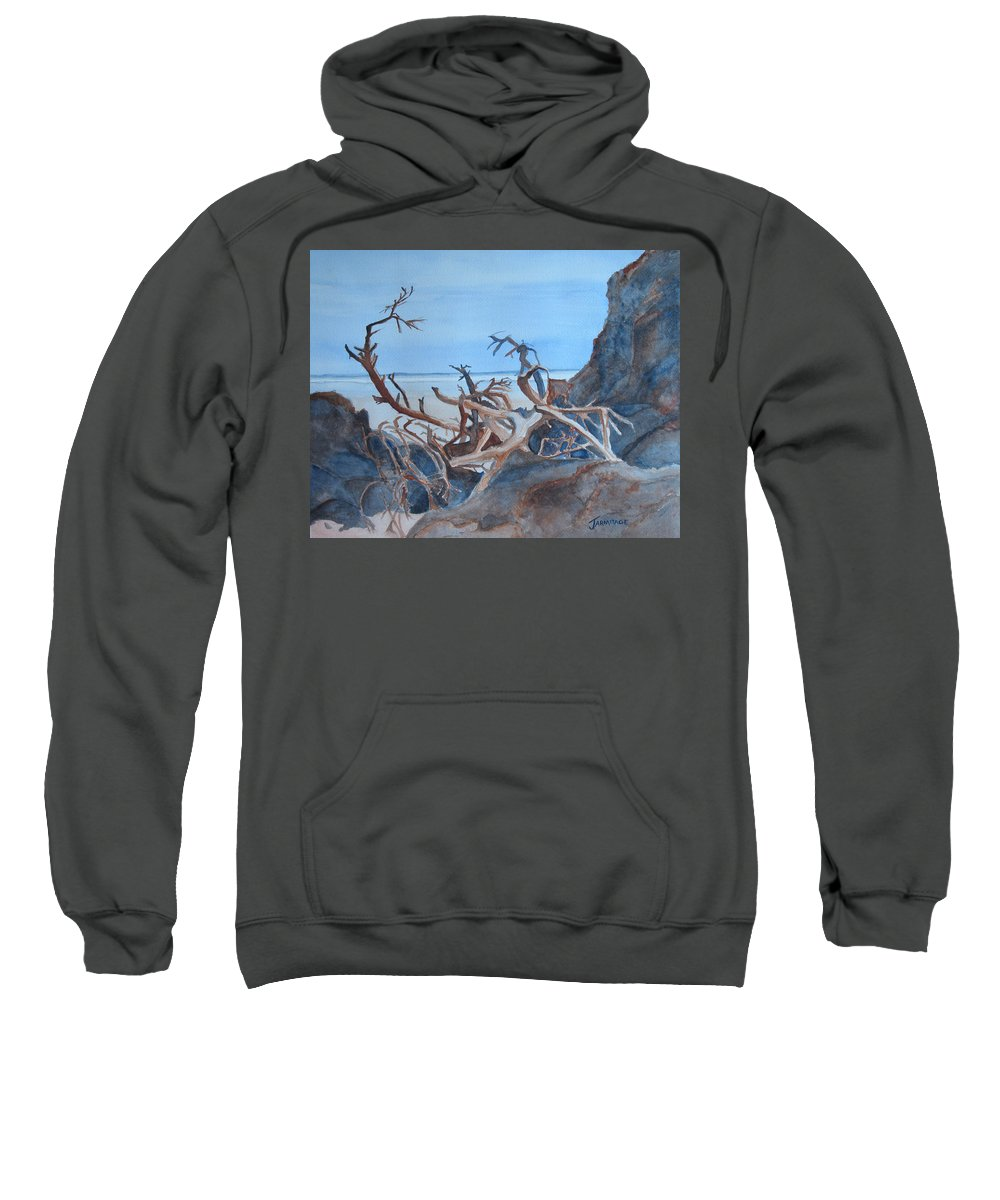 Seascapes Sweatshirt featuring the painting Beach Tangle by Jenny Armitage