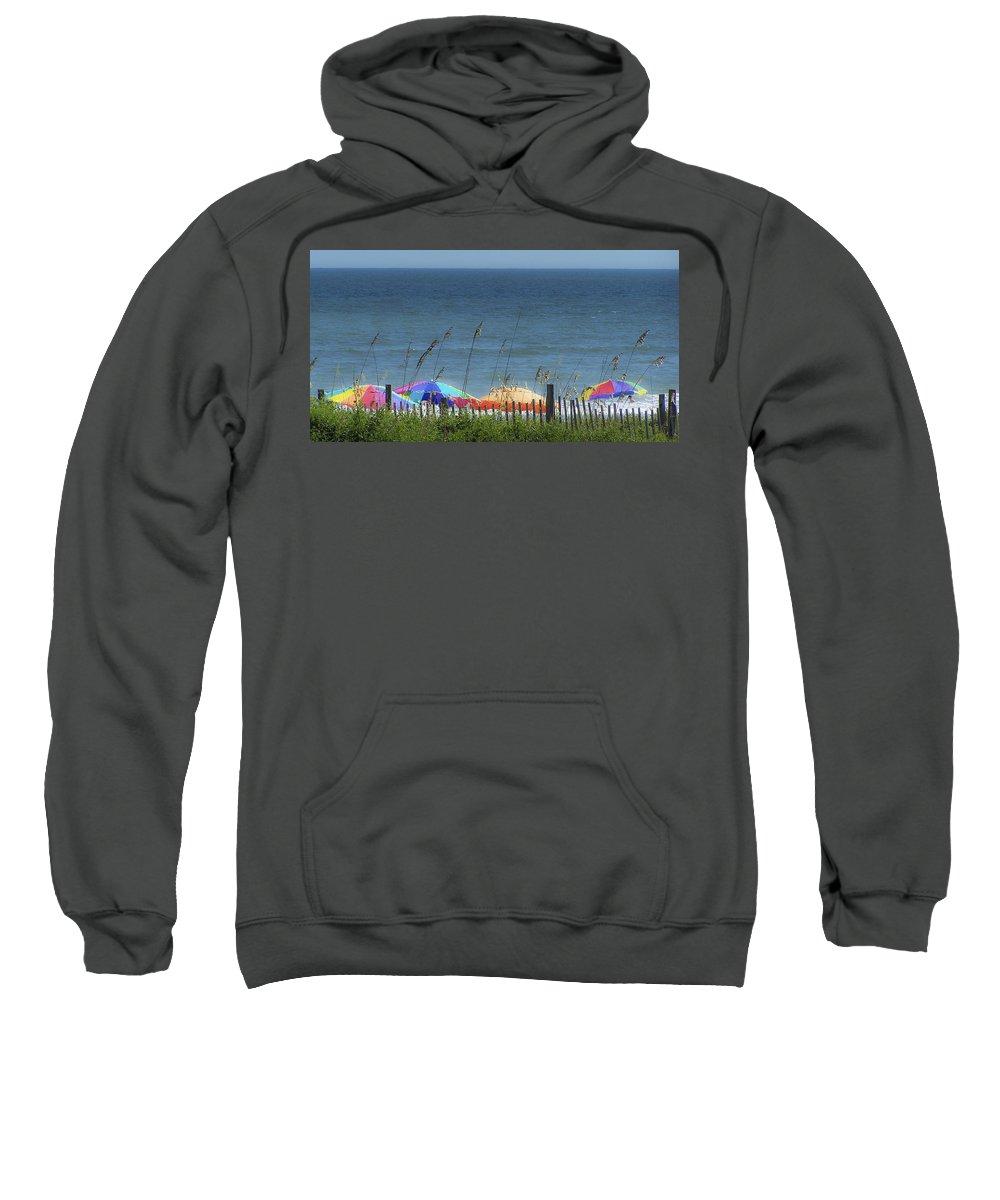Beach Sweatshirt featuring the photograph Beach Umbrellas by Teresa Mucha