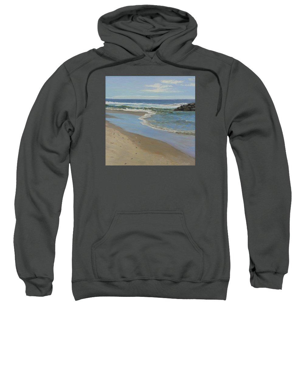 Seascape Sweatshirt featuring the painting Beach With Rocks by Lea Novak