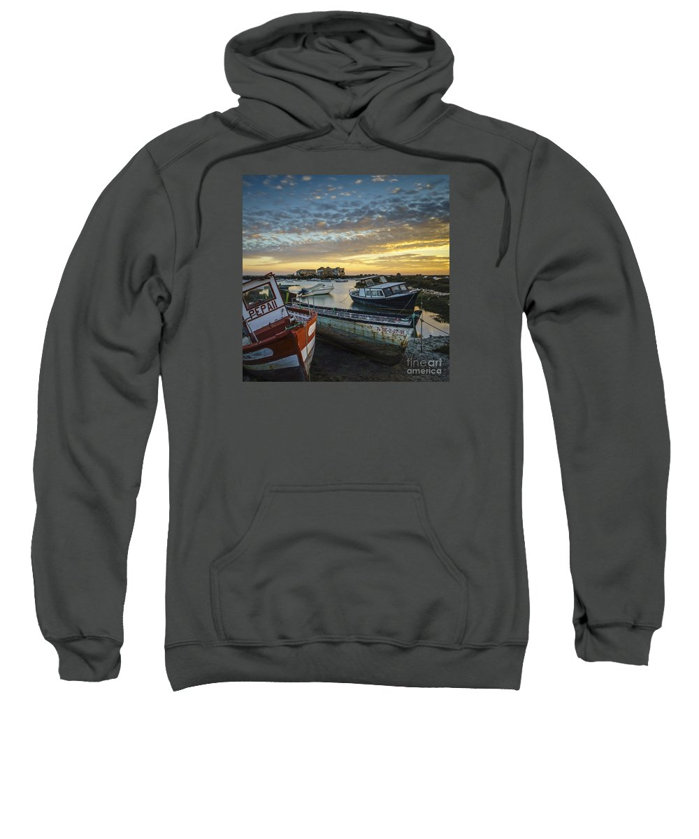 Andalucia Sweatshirt featuring the photograph Beached Boats On Trocadero Pipe Puerto Real Cadiz Spain by Pablo Avanzini