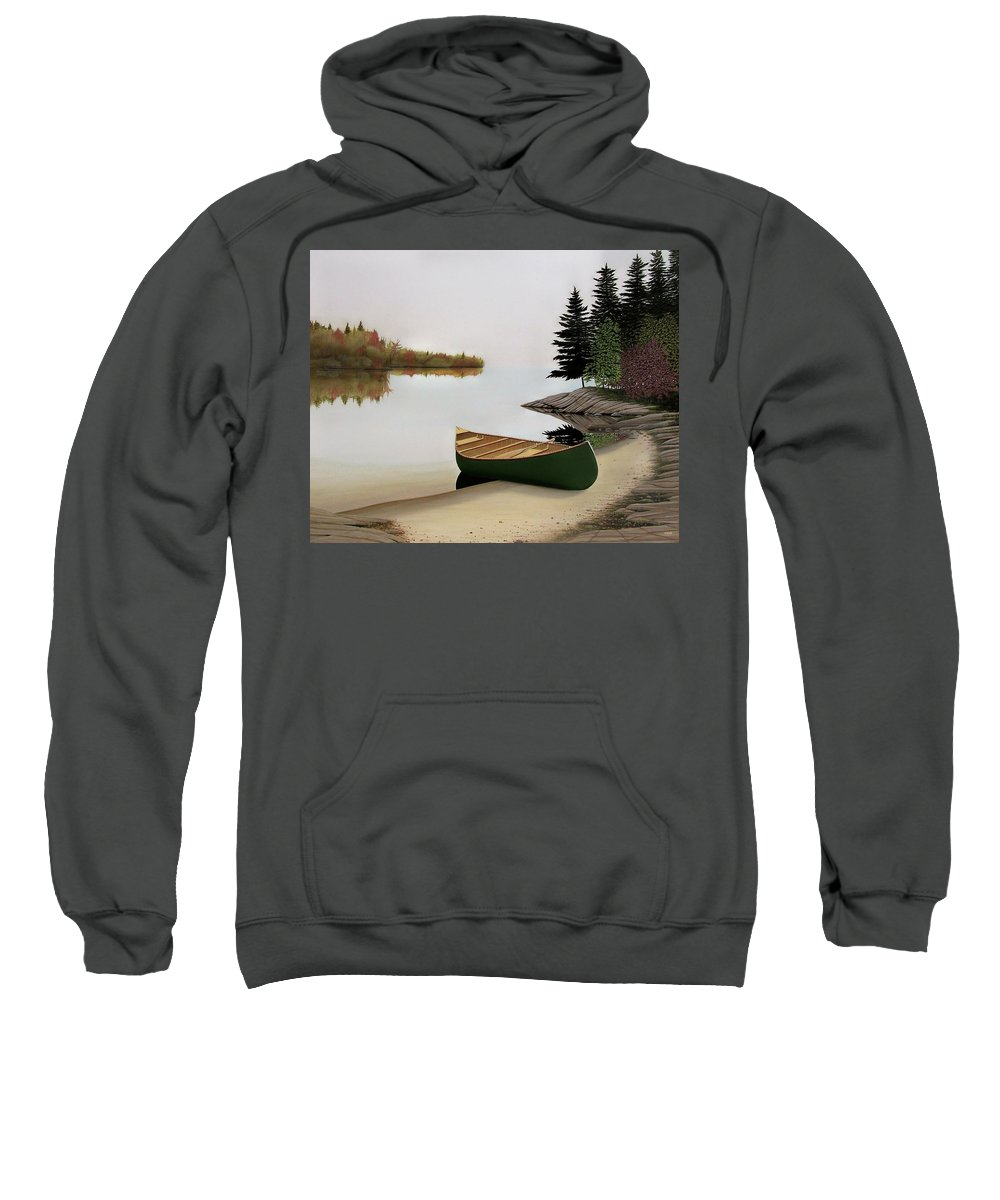 Canoe Paintings Sweatshirt featuring the painting Beached Canoe In Muskoka by Kenneth M Kirsch