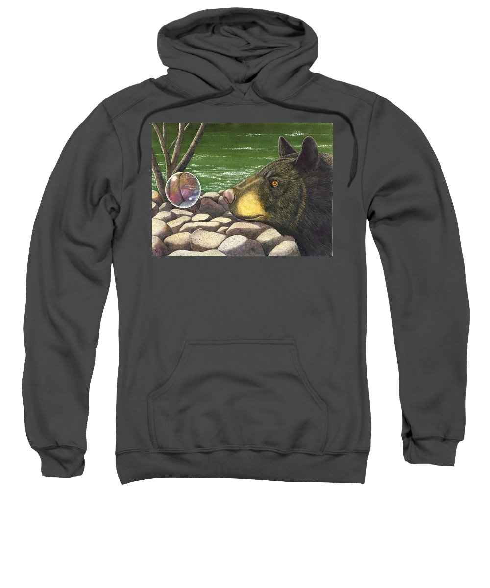 Black Bear Sweatshirt featuring the painting Bear Bubble by Catherine G McElroy