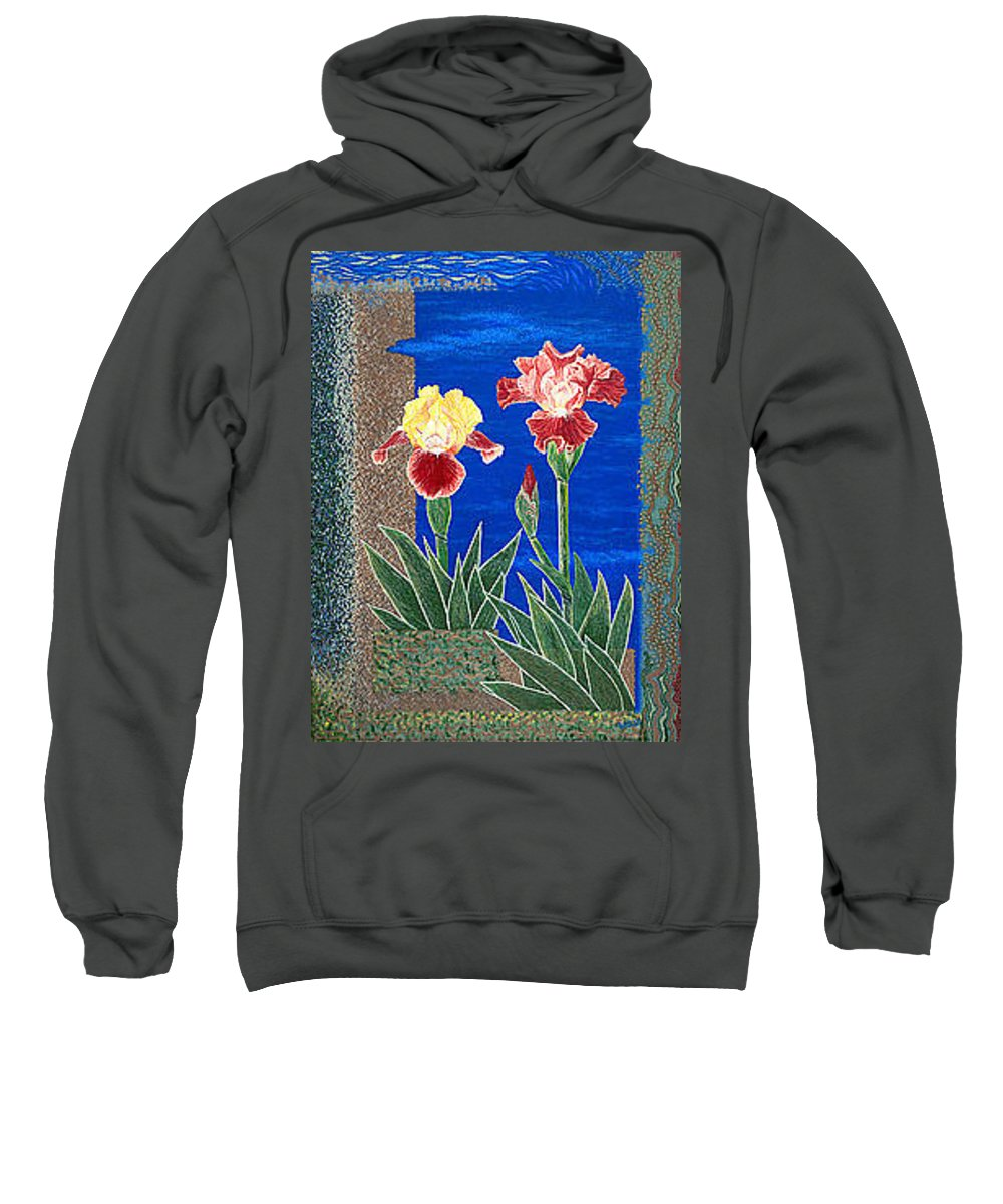 Irises Sweatshirt featuring the painting Bearded Irises Cheerful Fine Art Print Giclee High Quality Exceptional Color by Baslee Troutman