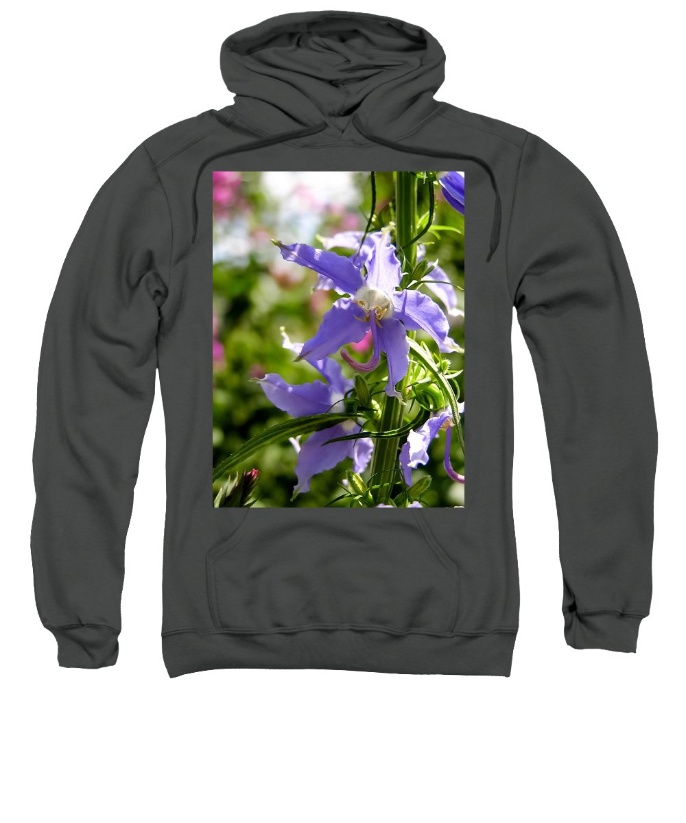 Tall Bellflower Sweatshirt featuring the photograph Tall Bellflower by Cynthia Woods