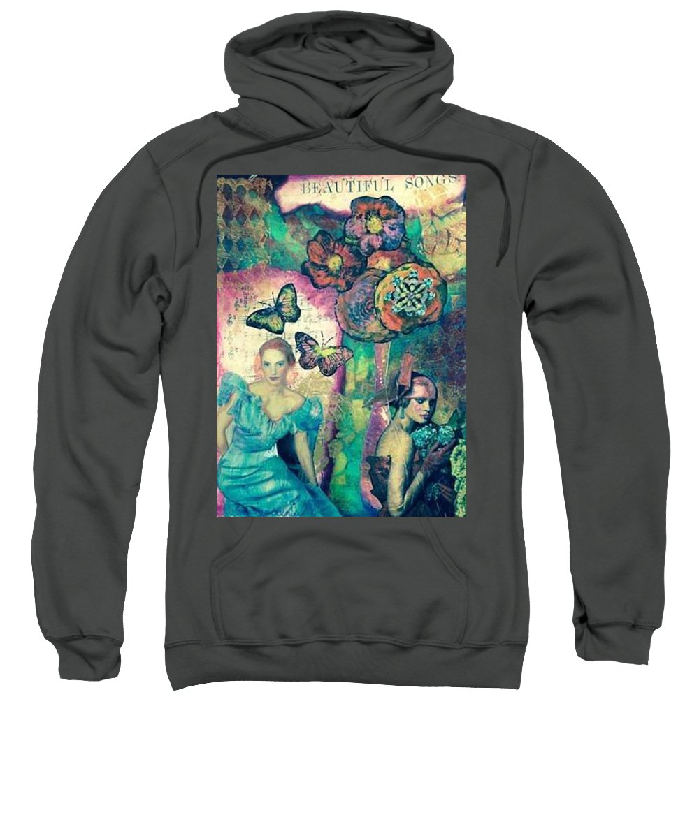 Mixed Media Sweatshirt featuring the mixed media Beautiful Song by Barbara Beckmann