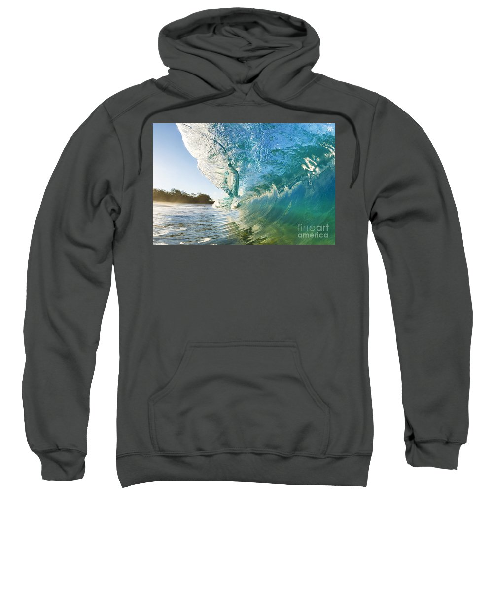 Aqua Sweatshirt featuring the photograph Beautiful Wave And Sunlight by MakenaStockMedia