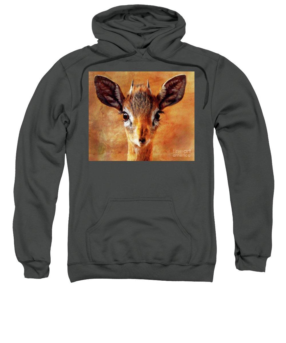 Deer Sweatshirt featuring the painting Beauty by Sarah Kirk