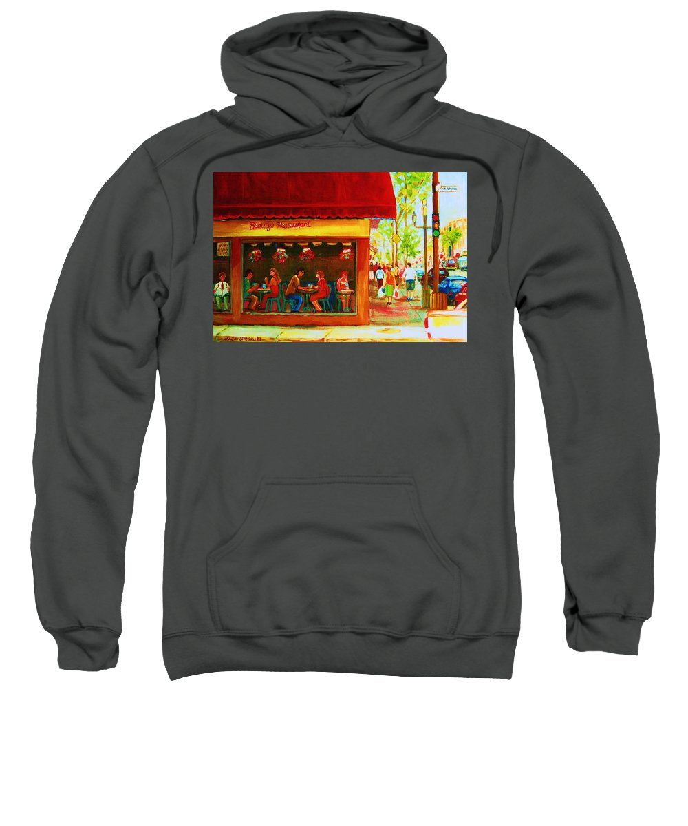 Beautys Cafe Abd Luncheonette Sweatshirt featuring the painting Beautys Cafe With Red Awning by Carole Spandau