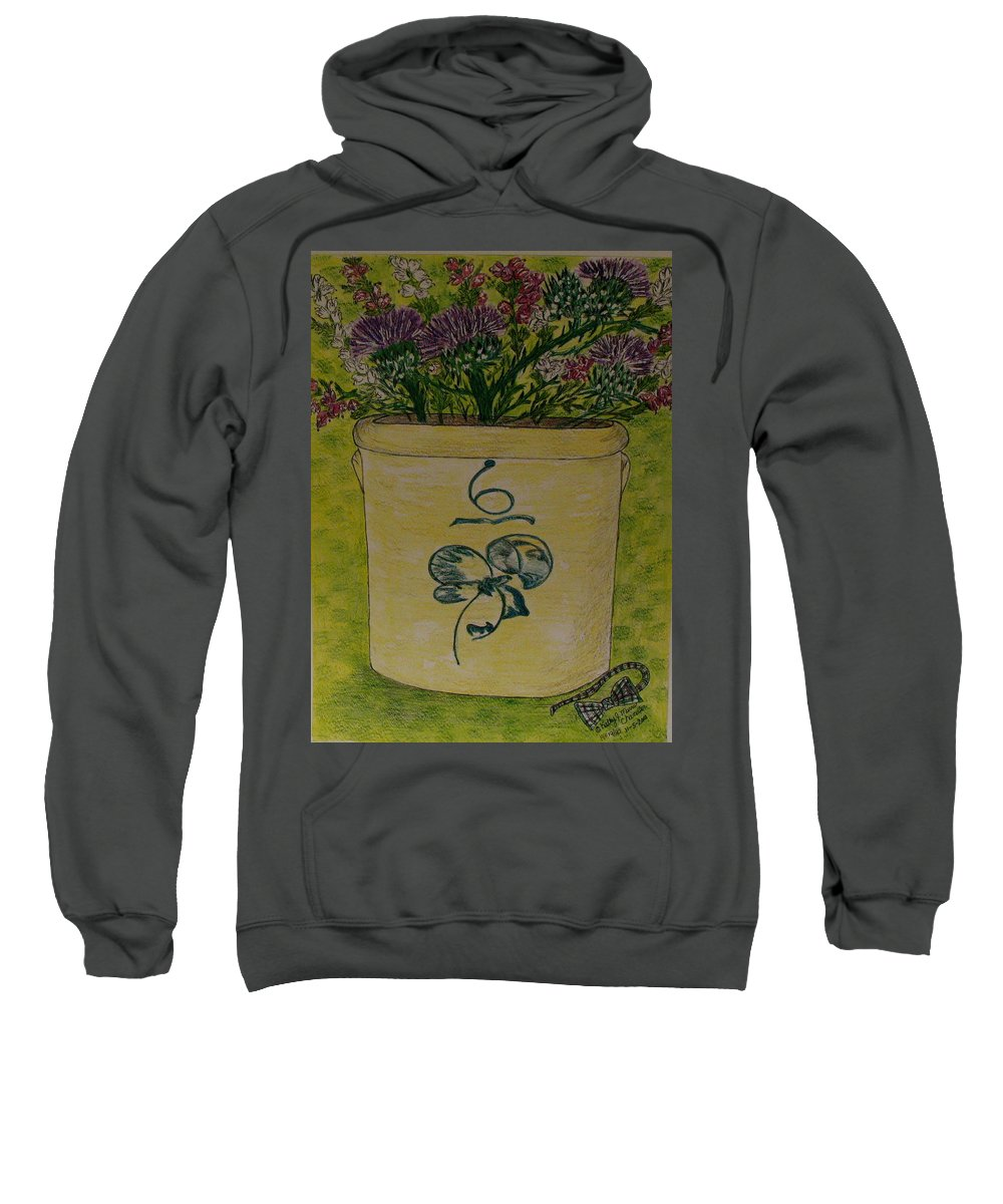 Bee Sting Crock Sweatshirt featuring the painting Bee Sting Crock With Good Luck Bow Heather And Thistles by Kathy Marrs Chandler