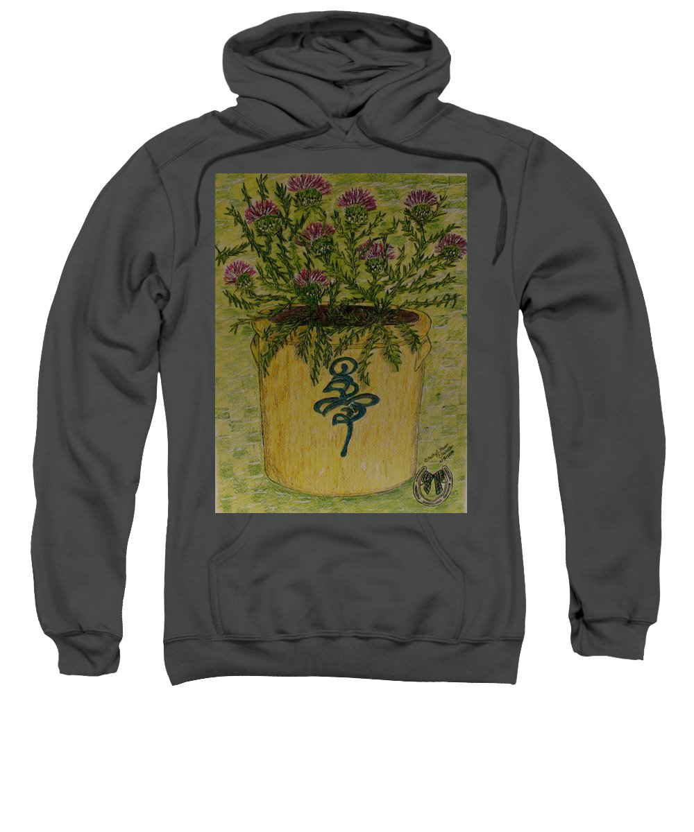 Vintage Sweatshirt featuring the painting Bee Sting Crock With Good Luck Horseshoe by Kathy Marrs Chandler