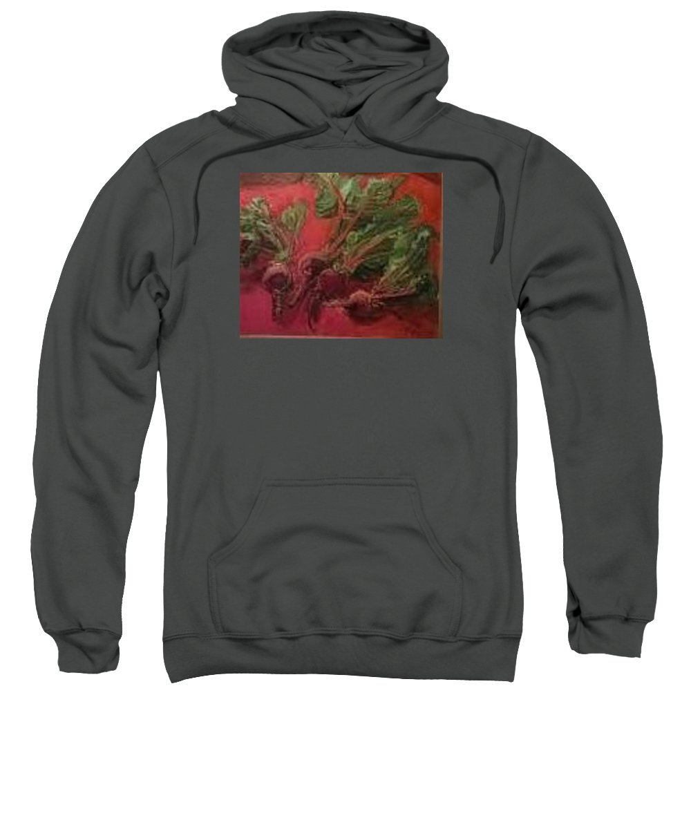 Still Life Of My Veggies Series  Beets Red On Red  Organic Food Crop From My Garden Sweatshirt featuring the painting Beets by Pat Gray