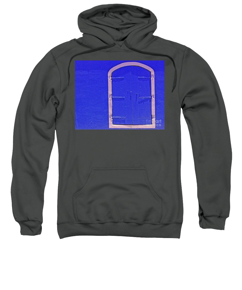 Door Sweatshirt featuring the photograph Behind The Blue Door by Debbi Granruth