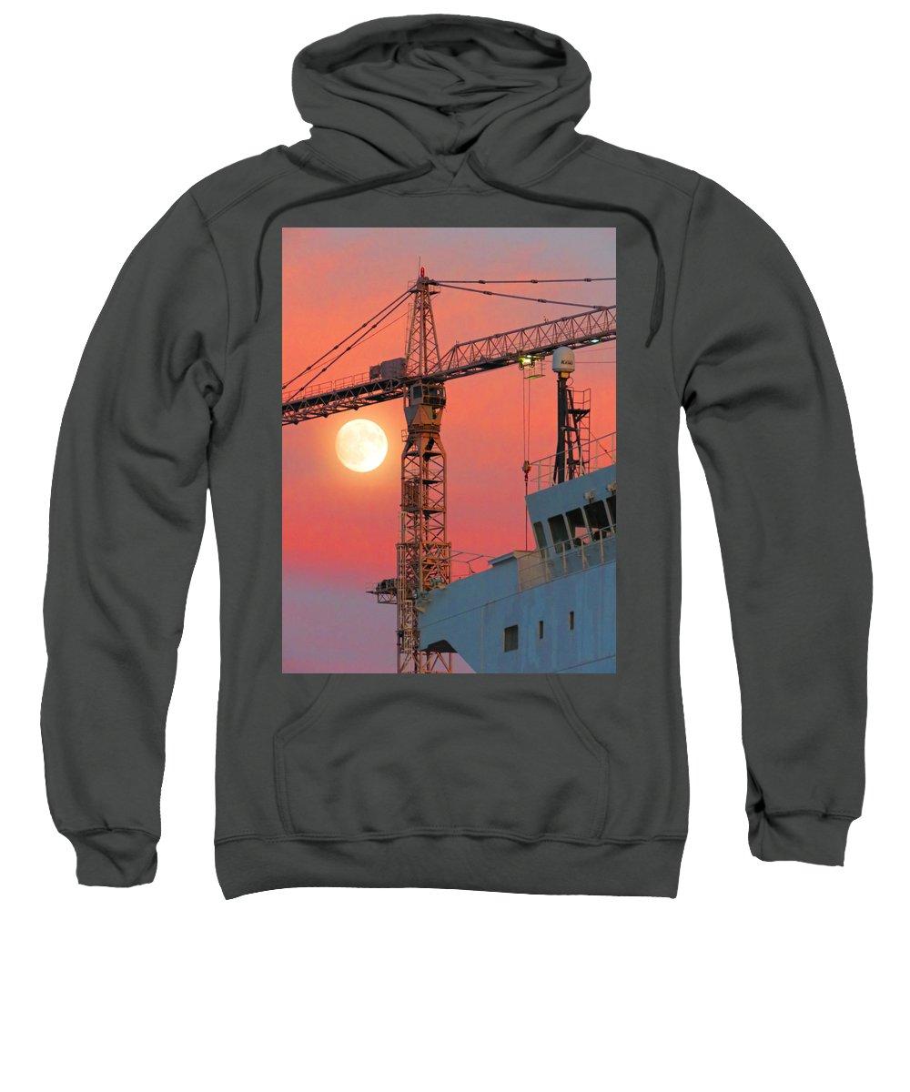Moon Sweatshirt featuring the photograph Behind The Crane A Hunter's Moon Rises II by De Ann Troen