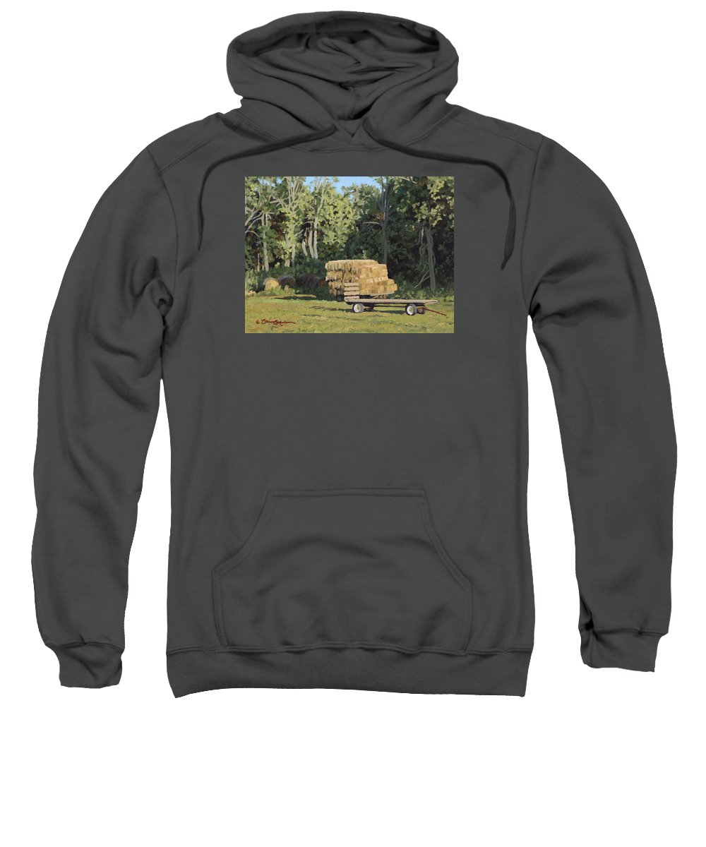 Landscape Sweatshirt featuring the painting Behind The Grove by Bruce Morrison