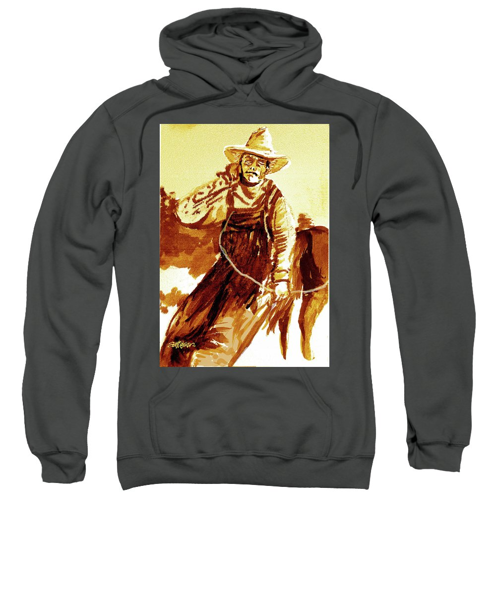 Tobacco Sweatshirt featuring the mixed media Behind The Plow by Seth Weaver
