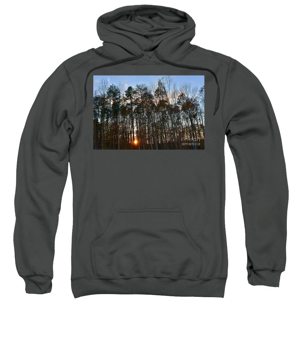 Amazing Sunset Sweatshirt featuring the photograph Behind The Trees by Jeramey Lende