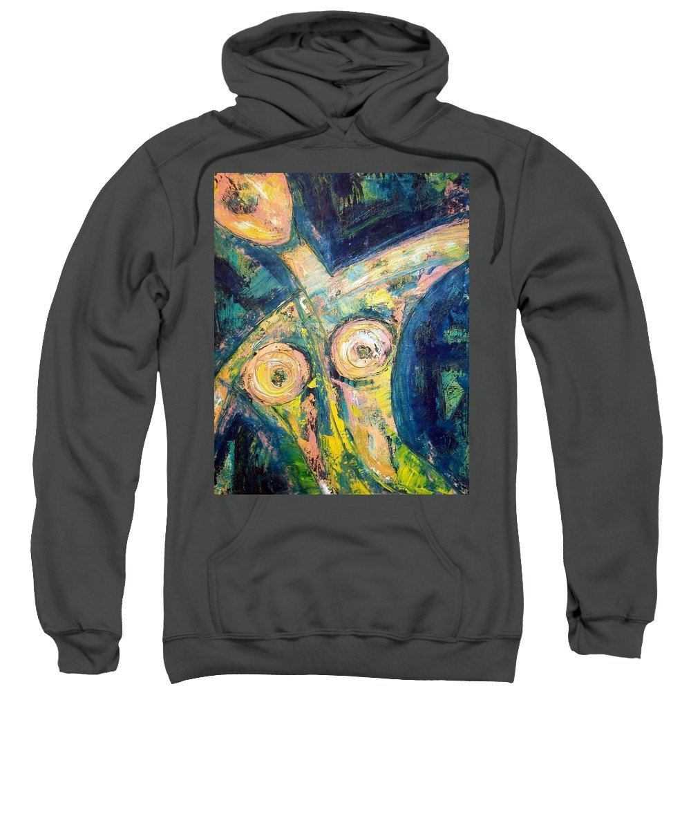Nude Sweatshirt featuring the painting Bell Bottom Blues by Kathy Augustine