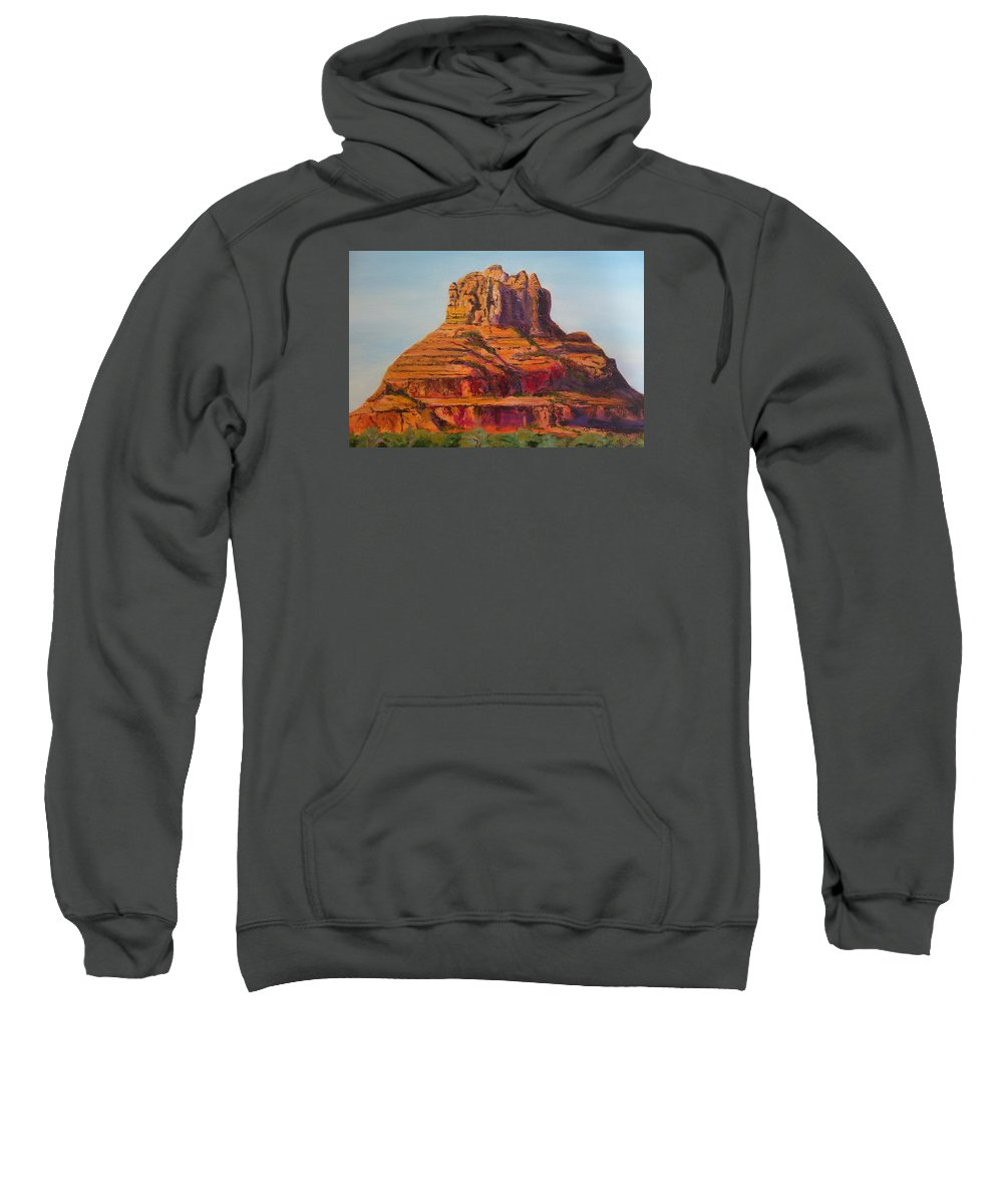 Desert Sweatshirt featuring the painting Bell Rock In Sedona Arizona - High Res. by Rauno Joks