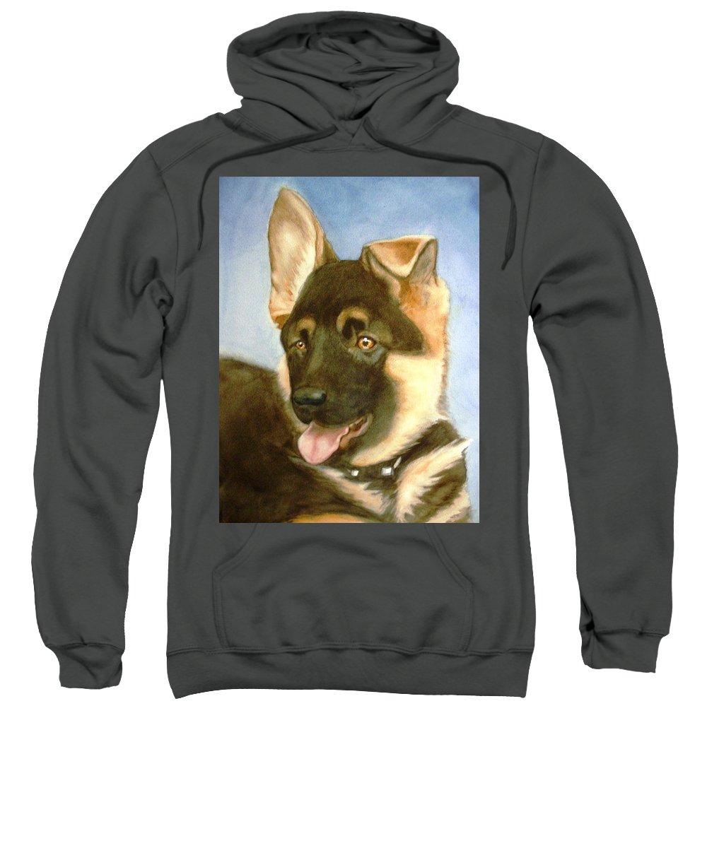 German Shepherd Puppy Sweatshirt featuring the painting Bella by Marilyn Jacobson