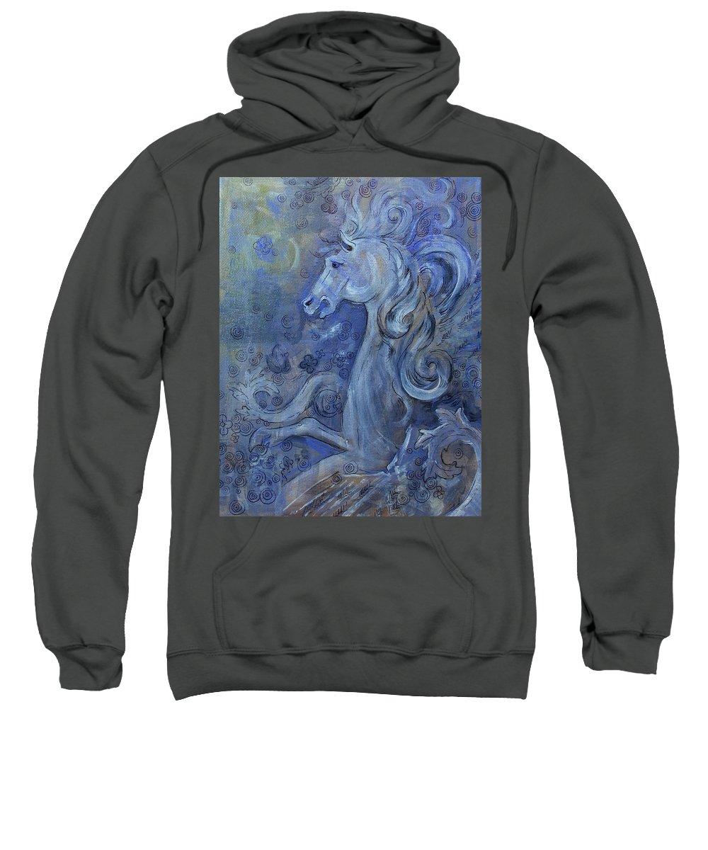 Pegasus Sweatshirt featuring the mixed media Bellerophons Companion by Jennifer Kelly
