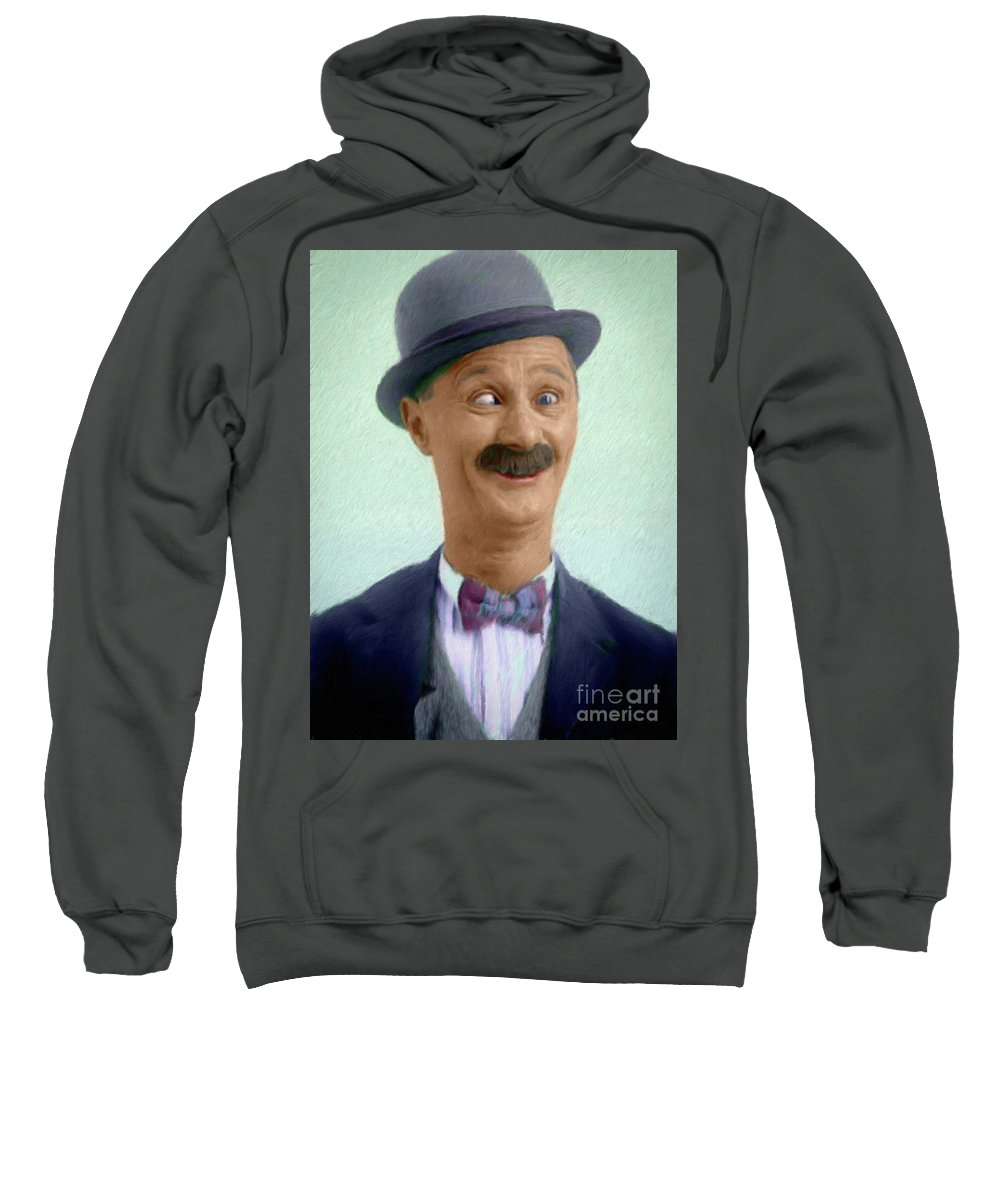 Ben Sweatshirt featuring the painting Ben Turpin, Vintage Comedy Actor by Mary Bassett