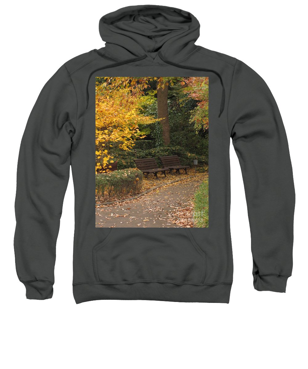 Bench Sweatshirt featuring the photograph Benches In The Park by Eena Bo