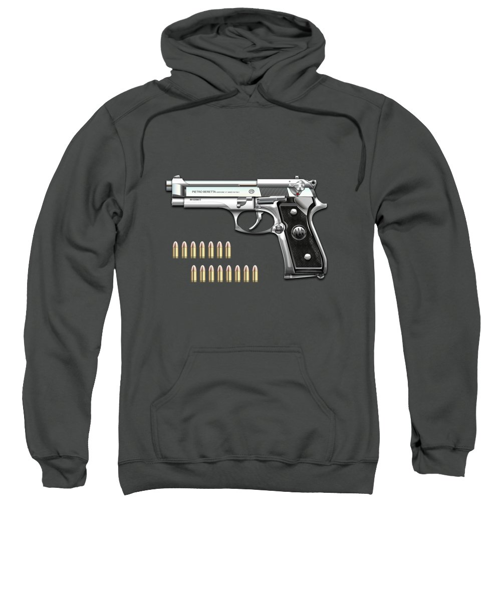 'the Armory' Collection By Serge Averbukh Sweatshirt featuring the digital art Beretta 92fs Inox With Ammo On Red Velvet by Serge Averbukh