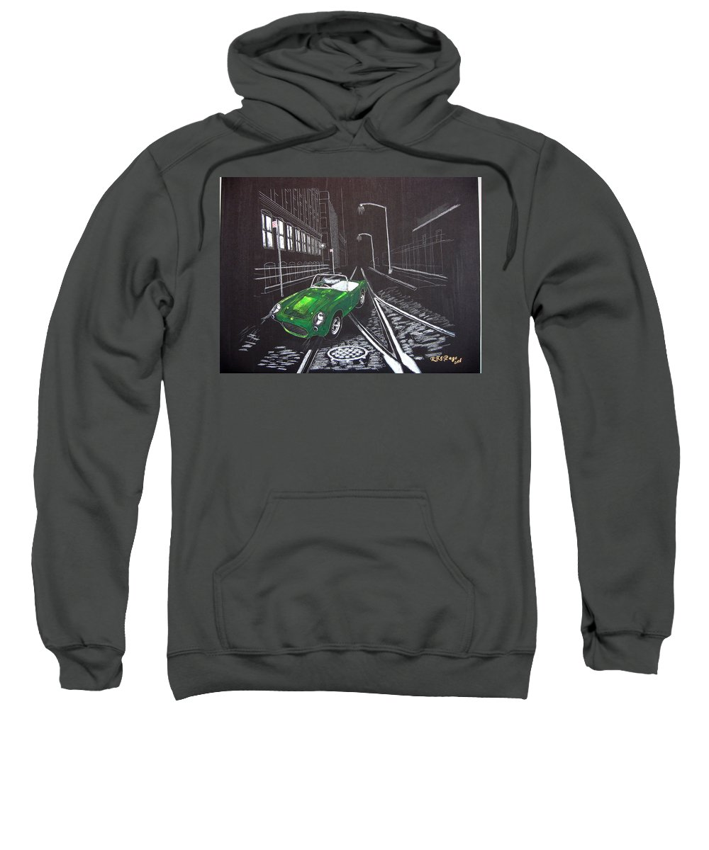 Berkley Sweatshirt featuring the painting Berkley Sports Car by Richard Le Page