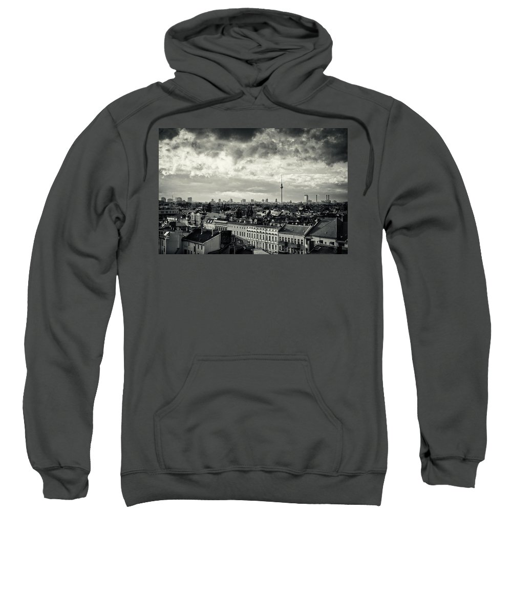 Berlin Sweatshirt featuring the photograph Berlin Skyline And Roofscape -black And White by Alexander Voss