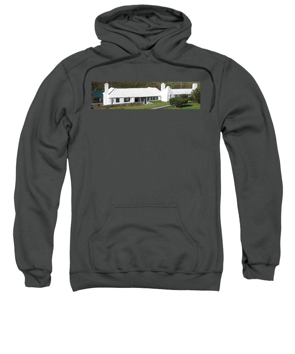 Bermuda Sweatshirt featuring the photograph Bermudian Centuries Old Cottage by Ian MacDonald