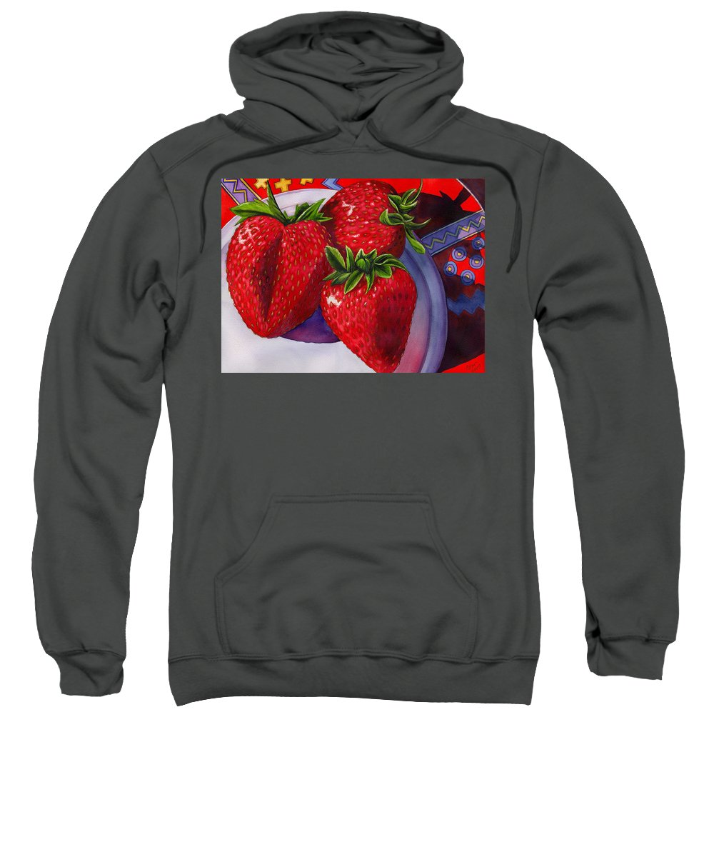 Strawberries Sweatshirt featuring the painting Berry Berry Berry Good by Catherine G McElroy